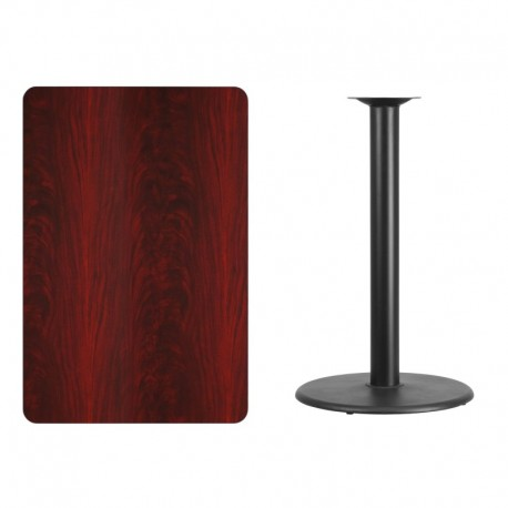 MFO 30'' x 45'' Rectangular Mahogany Laminate Table Top with 24'' Round Bar Height Table Base