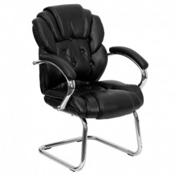 MFO Black Leather Transitional Side Chair with Padded Arms and Sled Base