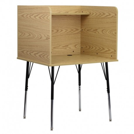 MFO Study Carrel with Adjustable Legs and Top Shelf in Oak Finish