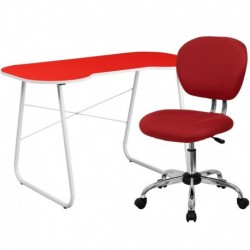 MFO Red Computer Desk and Mesh Chair