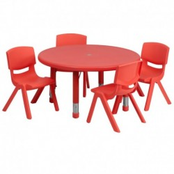 MFO 33'' Round Adjustable Red Plastic Activity Table Set with 4 School Stack Chairs