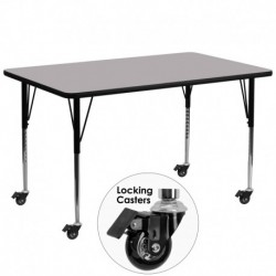 MFO Mobile 30''W x 72''L Rectangular Activity Table with Grey Thermal Fused Laminate Top and Standard Height Adjustable Legs