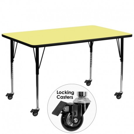 MFO Mobile 30''W x 72''L Rectangular Activity Table with Yellow Thermal Fused Laminate Top and Standard Height Adjustable Legs