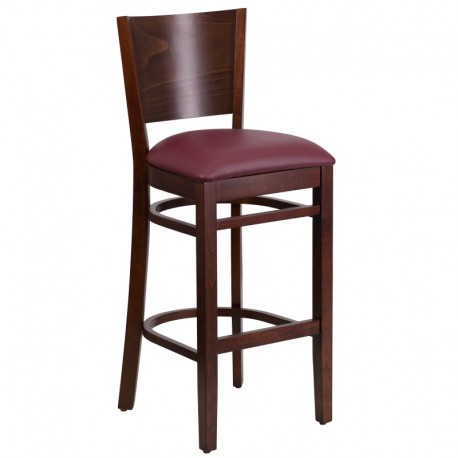 MFO Chimera Collection Solid Back Walnut Wooden Restaurant Barstool - Burgundy Vinyl Seat