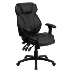 MFO High Back Black Leather Executive Office Chair with Triple Paddle Control