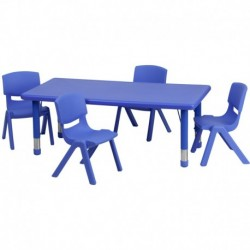 MFO 24''W x 48''L Adjustable Rectangular Blue Plastic Activity Table Set with 4 School Stack Chairs