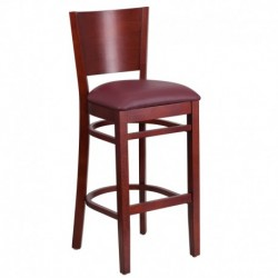 MFO Chimera Collection Solid Back Mahogany Wooden Restaurant Barstool - Burgundy Vinyl Seat