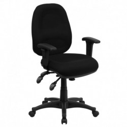 MFO Mid-Back Multi-Functional Black Fabric Swivel Computer Chair