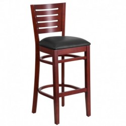 MFO Fervent Collection Slat Back Mahogany Wooden Restaurant Barstool - Black Vinyl Seat