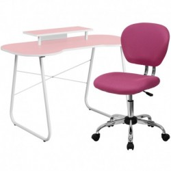 MFO Pink Computer Desk with Monitor Platform and Mesh Chair