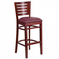 MFO Fervent Collection Slat Back Mahogany Wooden Restaurant Barstool - Burgundy Vinyl Seat