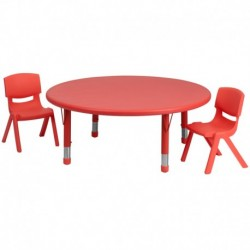 MFO 45'' Round Adjustable Red Plastic Activity Table Set with 2 School Stack Chairs