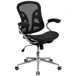 MFO Mid-Back Black Mesh Computer Chair with Chrome Base