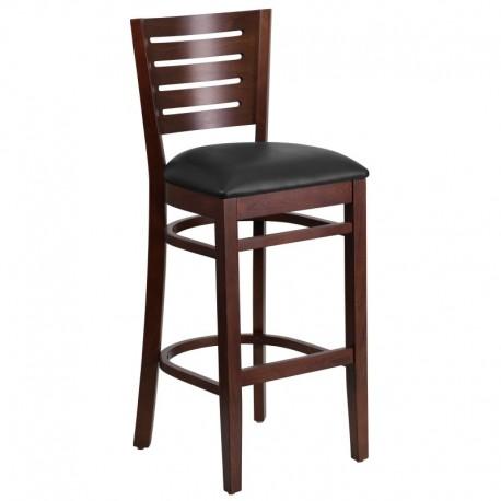 MFO Fervent Collection Slat Back Walnut Wooden Restaurant Barstool - Black Vinyl Seat