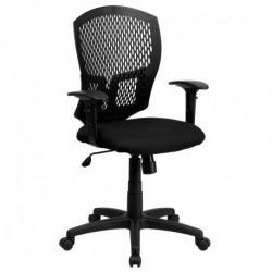 MFO Mid-Back Designer Back Task Chair with Padded Fabric Seat and Arms
