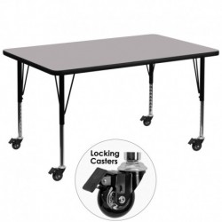MFO Mobile 24''W x 48''L Rectangular Activity Table with Grey Thermal Fused Laminate Top and Height Adjustable Pre-School Legs