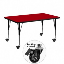 MFO Mobile 24''W x 48''L Rectangular Activity Table with Red Thermal Fused Laminate Top and Height Adjustable Pre-School Legs