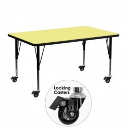 MFO Mobile 24''W x 48''L Rectangular Activity Table with Yellow Thermal Fused Laminate Top and Height Adjustable Pre-School Legs