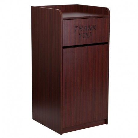 MFO Wood Tray Top Receptacle in Mahogany Finish