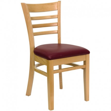 MFO Natural Wood Finished Ladder Back Wooden Restaurant Chair - Burgundy Vinyl Seat