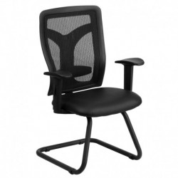 MFO Galaxy Black Mesh Side Arm Chair with Leather Seat and Adjustable Lumbar Support