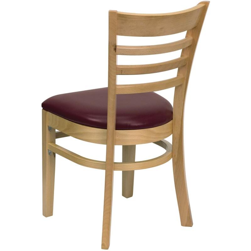 MFO Natural Wood Finished Ladder Back Wooden Restaurant Chair   Burgundy  Vinyl Seat
