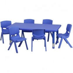 MFO 24''W x 48''L Adjustable Rectangular Blue Plastic Activity Table Set with 6 School Stack Chairs