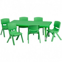 MFO 24''W x 48''L Adjustable Rectangular Green Plastic Activity Table Set with 6 School Stack Chairs