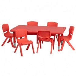 MFO 24''W x 48''L Adjustable Rectangular Red Plastic Activity Table Set with 6 School Stack Chairs