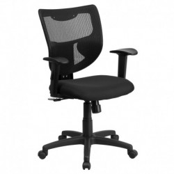 MFO Galaxy Mid-Back Designer Back Task Chair with Adjustable Height Arms and Padded Fabric Seat