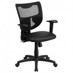 MFO Galaxy Mid-Back Designer Back Task Chair with Adjustable Height Arms and Padded Leather Seat