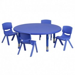 MFO 45'' Round Adjustable Blue Plastic Activity Table Set with 4 School Stack Chairs