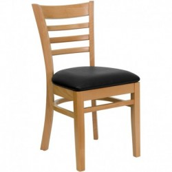 MFO Natural Wood Finished Ladder Back Wooden Restaurant Chair - Black Vinyl Seat