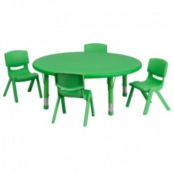 MFO 45'' Round Adjustable Green Plastic Activity Table Set with 4 School Stack Chairs