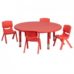 MFO 45'' Round Adjustable Red Plastic Activity Table Set with 4 School Stack Chairs