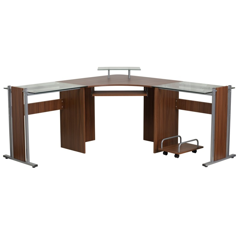 Mfo Teakwood Laminate Corner Desk With, Flash Furniture Black Glass Computer Desk With Pull Out Keyboard Tray