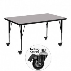 MFO Mobile 30''W x 48''L Rectangular Activity Table with Grey Thermal Fused Laminate Top and Height Adjustable Pre-School Legs