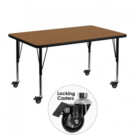 MFO Mobile 30''W x 48''L Rectangular Activity Table with Oak Thermal Fused Laminate Top and Height Adjustable Pre-School Legs