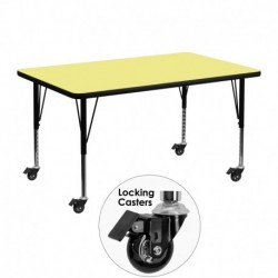 MFO Mobile 30''W x 48''L Rectangular Activity Table with Yellow Thermal Fused Laminate Top and Height Adjustable Pre-School Legs