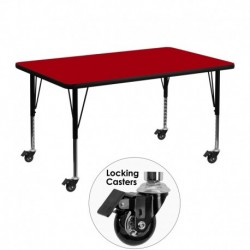 MFO Mobile 30''W x 48''L Rectangular Activity Table with Red Thermal Fused Laminate Top and Height Adjustable Pre-School Legs