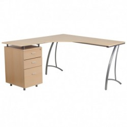 MFO Beech Laminate L-Shape Desk with Three Drawer Pedestal