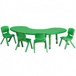 MFO 35''W x 65''L Adjustable Half-Moon Green Plastic Activity Table Set with 4 School Stack Chairs