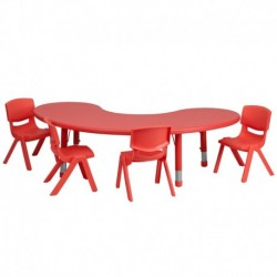 MFO 35''W x 65''L Adjustable Half-Moon Red Plastic Activity Table Set with 4 School Stack Chairs