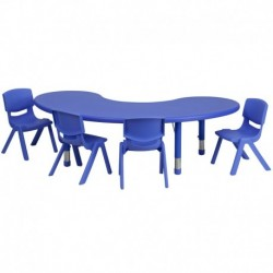 MFO 35''W x 65''L Adjustable Half-Moon Blue Plastic Activity Table Set with 4 School Stack Chairs