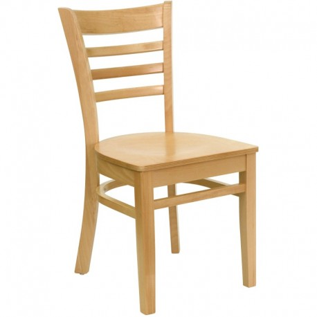 MFO Natural Wood Finished Ladder Back Wooden Restaurant Chair
