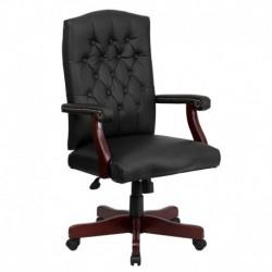 MFO Martha Washington Black Leather Executive Swivel Chair