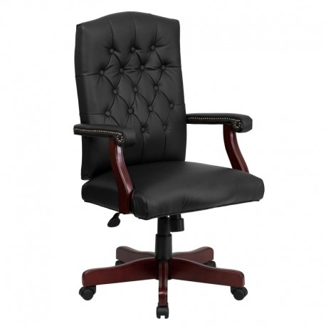 MFO Martha Washington Black Leather Executive Swivel Chair