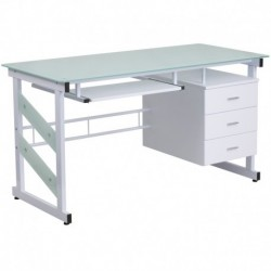 MFO White Computer Desk with Three Drawer Pedestal