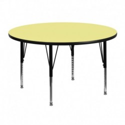 MFO 48'' Round Activity Table with Yellow Thermal Fused Laminate Top and Height Adjustable Pre-School Legs