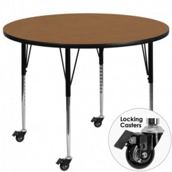 MFO Mobile 48'' Round Activity Table with Oak Thermal Fused Laminate Top and Standard Height Adjustable Legs